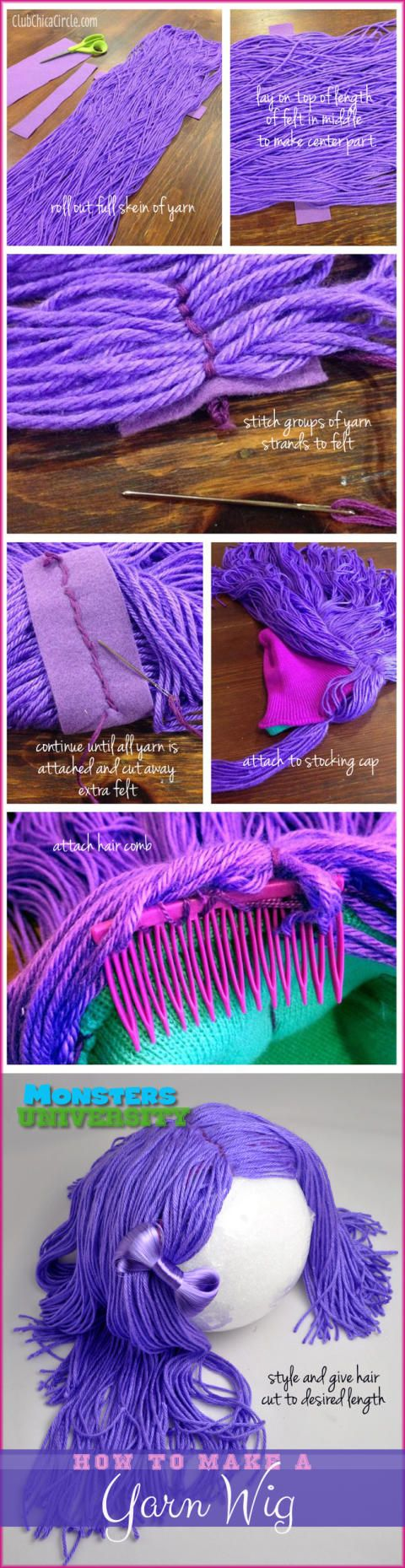 Monsters University Homemade yarn wig DIY