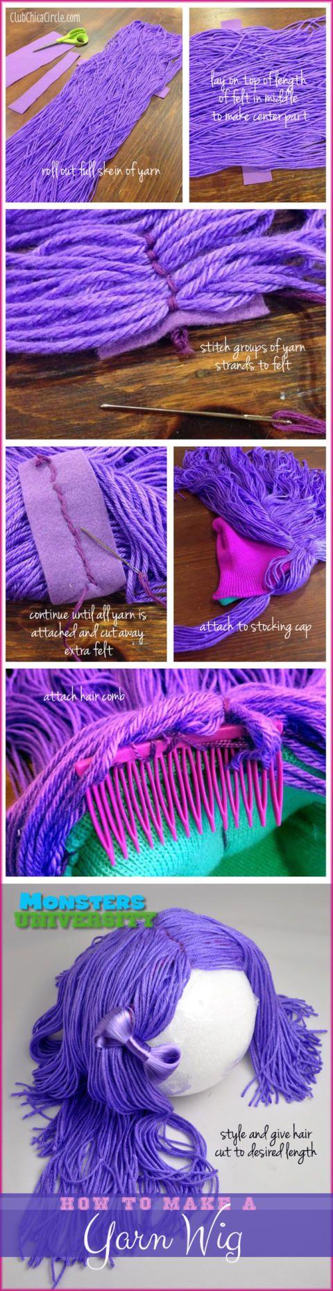 Monsters University Homemade yarn wig DIY