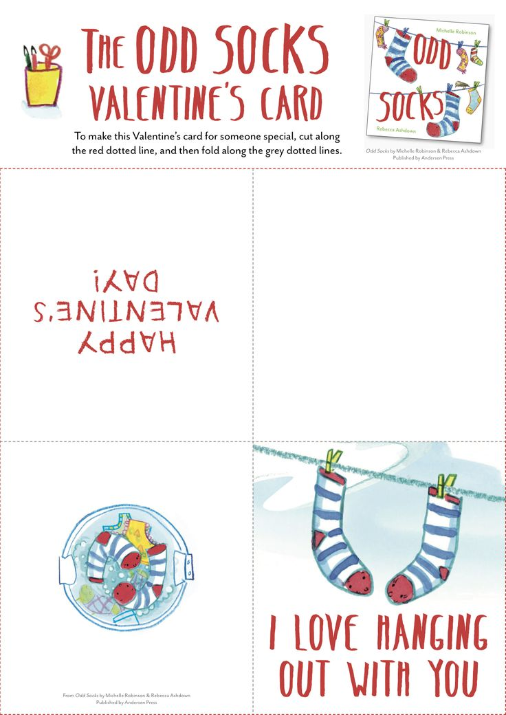 I Love Hanging Out With You, valentine's card - from ODD SOCKS, Michelle Robinson & Rebecca Ashdown, Andersen Press 2016