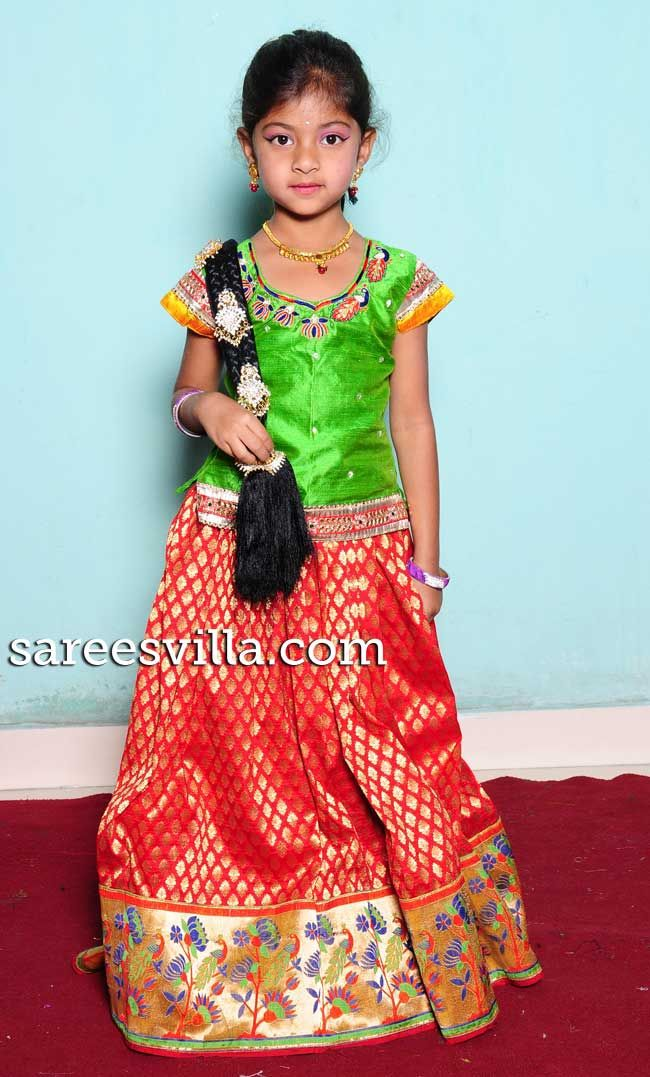 kids south indian traditional wear pavada | Ethnic wear ...