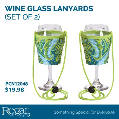 """WINE GLASS LANYARDS (SET OF 2) - GREEN PAISLEY  Great for parties, wine tasting events, tailgating and concerts. Holds wine glass or beverage can and keeps your hands free. Adjustable height neck strap. 3""""Diam. x 3-1/2""""H"""