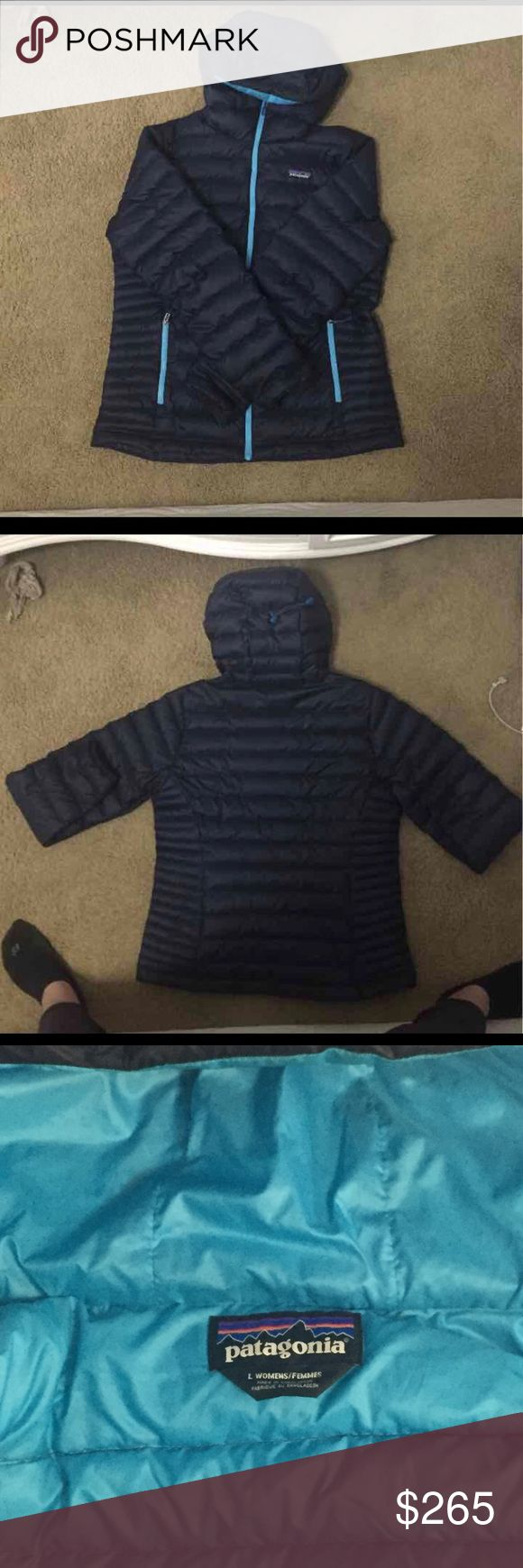 Patagonia Down Sweater Hoody Like new condition. This color is no longer sold and was very popular. It is NOT the navy epic blue color that is on sale for $200. It was navy and ultramarine blue, not for sale ANYWHERE.   Women's L.   Please don't waste my time or yours with disrespectfully low offers.   I will only entertain reasonable offers. Patagonia Jackets & Coats Puffers