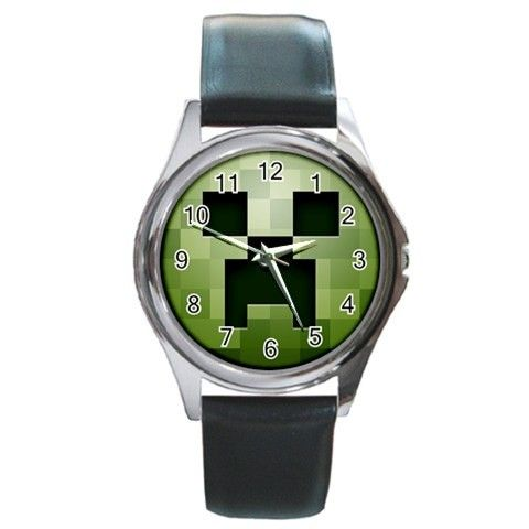 Minecraft Creeper Mob Head Metal Leather Band Wristwatch via Greatest Gift