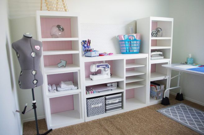 Diy Craft Room Wall Storage Organizer Unit Furniture Makeover Project Tutorial From A 90s Oak Entertainment Center Craft Room Design Oak Entertainment Center Small Room Design