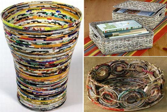 A wonderful and colourful basket made from old magazines! Isn't it just a great idea?