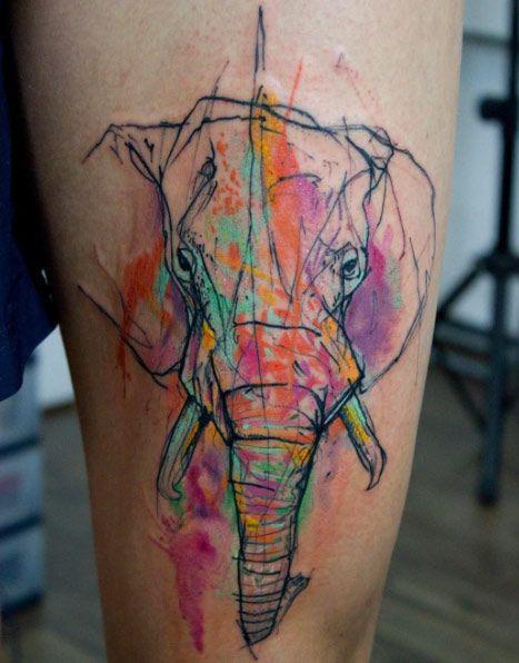 Sketched elephant tattoo by Kamil Mokot