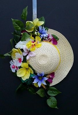 Summer Spring Sun Straw Hat Wreath Door Hanger Tropical