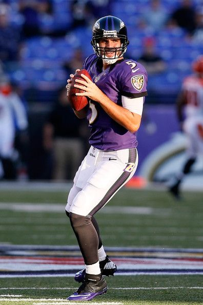 Quarterback Joe Flacco #5 of the Baltimore Ravens warms-up before taking on the Cincinnati Bengals at M Bank Stadium on September 10, 2012 in Baltimore, Maryland.