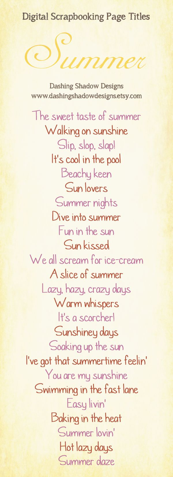Scrapbook Page Title Ideas - Summer