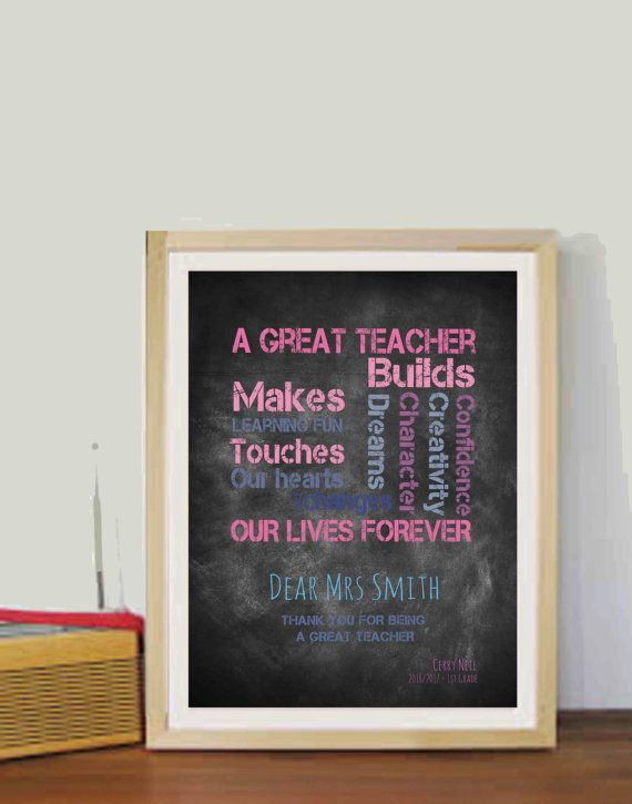 Personalized Teacher Gift Year end gift for Teacher Quotes