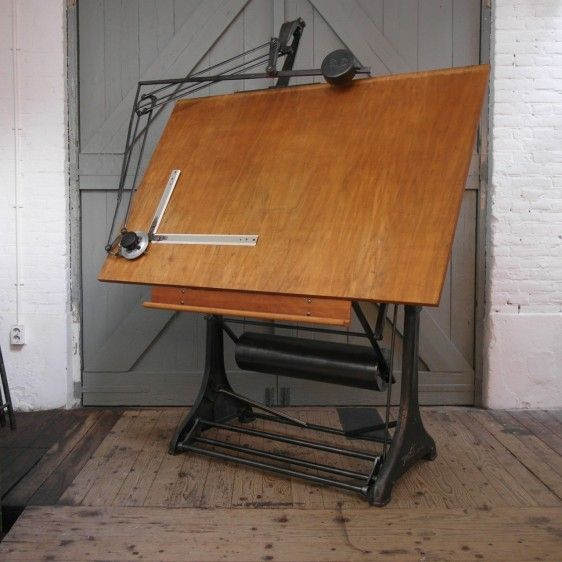 Vintage Industrial Drafting Table By Kuhlmann (Germany)