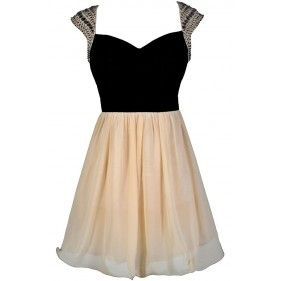 Black and Beige Party Dress, Black and Ivory Party Dress, Black and Ivory Beaded Shoulder Dress, Black and Beige Beaded Shoulder Dress, Beaded Shoulder Dress, Black and Ivory Prom Dress, Black and Beige Prom Dress, Beaded Prom Dress, Cute Prom Dress, Cute