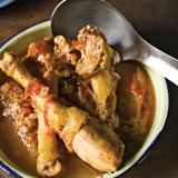 Poulet Creole (Haitian Stewed Chicken Recipe) | SAVEUR - use 1/4 cup water plus 1/4 cup lime juice in lieu of the 1/2 cup water. Maybe add a few drops of hot sauce at the table, garnish with sliced scallions.