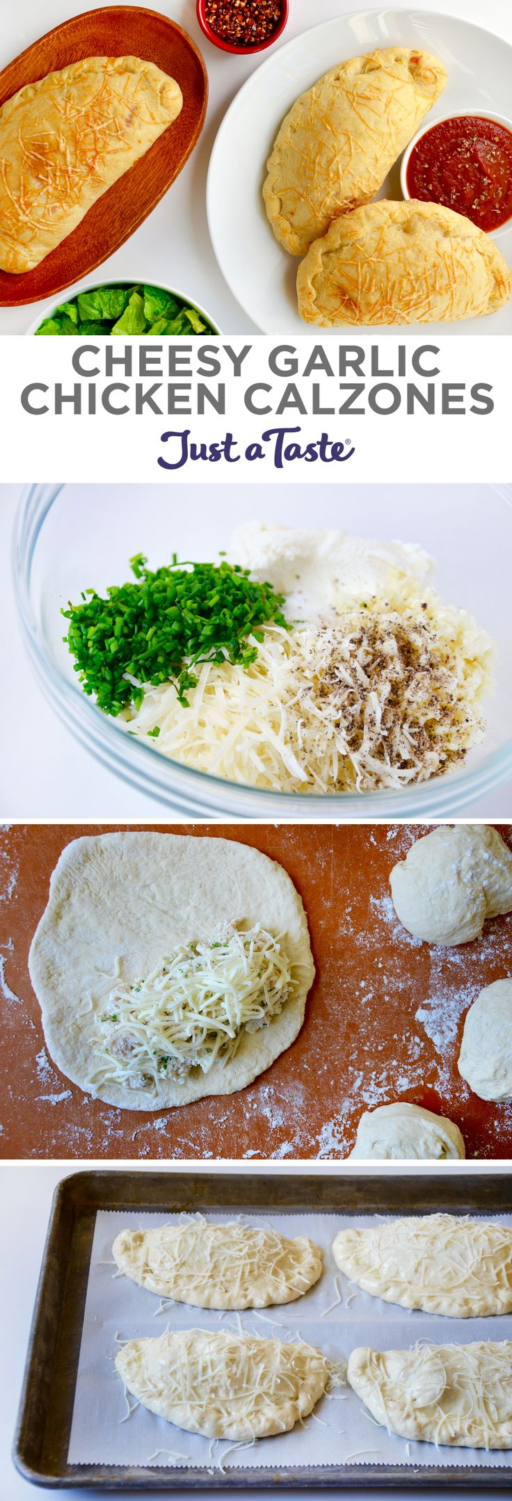 Cheesy Garlic Chicken Calzones recipe justataste.com #recipe #pizza