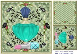 Groene Bloemen parfum en lippenstift kaartvoorzijde