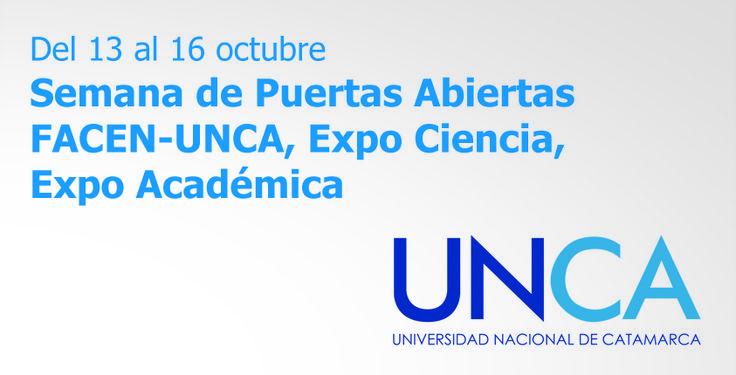 """Organizada por la Facultad de Ciencias Exactas y Naturales de la Universidad Nacional de Catamarca, bajo el lema """"Todo lo que nos rodea es luz"""", """"Conoce, experimenta, descubre y aprende"""", entre el 13 y el 16 de octubre de este año, se desarrollará la primera edición de la """"Semana de Puertas Abiertas FACEN-UNCA, Expo Ciencia, Expo Académica"""".  #UNCA #UNCATuFuturo #Catamarca #Argentina #Exactas #Naturales #FACEN #universidad"""