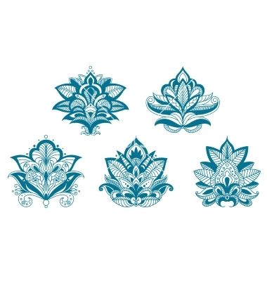 Outlined paisley lace blue flowers vector lotus henna tattoo  - by Seamartini on VectorStock®