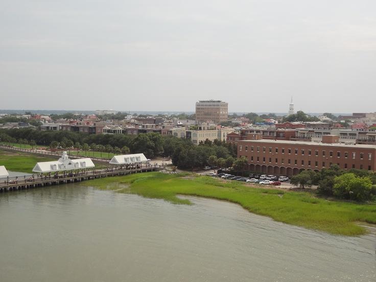 Looking back at Charleston from Cruise Ship