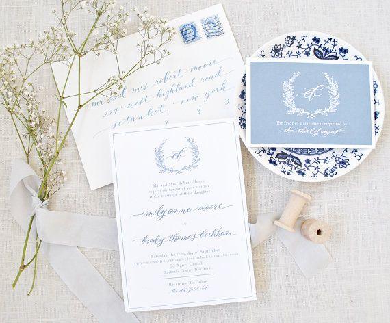 Calligraphy Wedding Invitations Blue Wedding by WhimsyBDesigns
