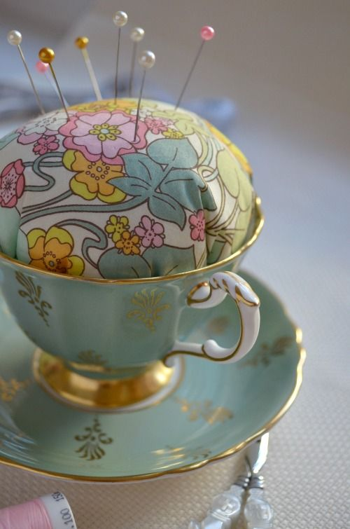 Tutorial - Teacup Pincushion. Idea - embellish with trim and some flowers!
