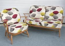 Ercol sofa and chair in Sanderson Fabric