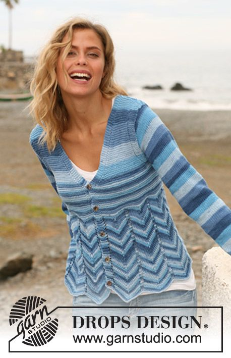 "Knitted DROPS jacket with zigzag pattern in ""Muskat Soft"". Size: XS - XXL"