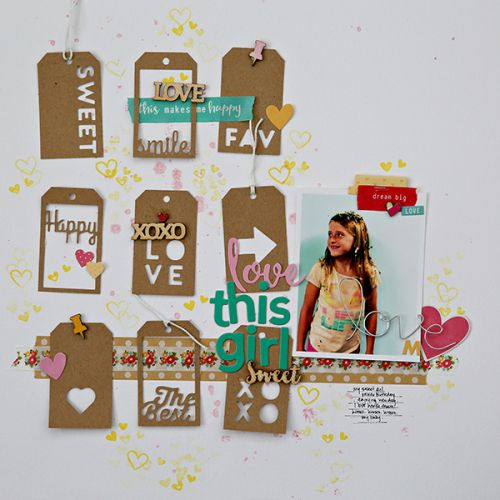 Love this Girl Layout by Corrie Jones featuring Jillibean Soup Chit Chat Chowder and Day2Day Washi Tape