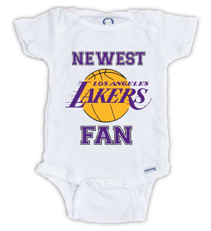Newest LAKERS Fan Baby Onesie by JujuApparel on Etsy Baby clothes, Baby onesie, Los Angeles Lakers, shirts, funny baby clothes, great gifts, Mother's Day, Father's Day, baby shower, baby boy, baby girl, birthday gift