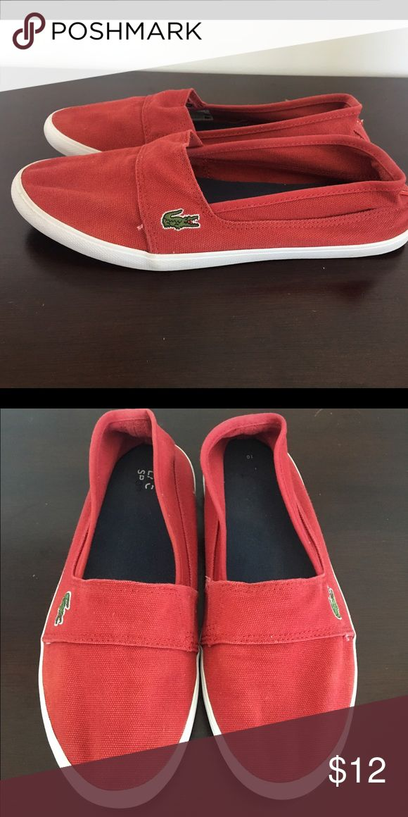 Red Lacoste slip on shoes, women size 9. Red slip on shoes, super comfortable. Worn but in good condition. Lacoste Shoes Sneakers