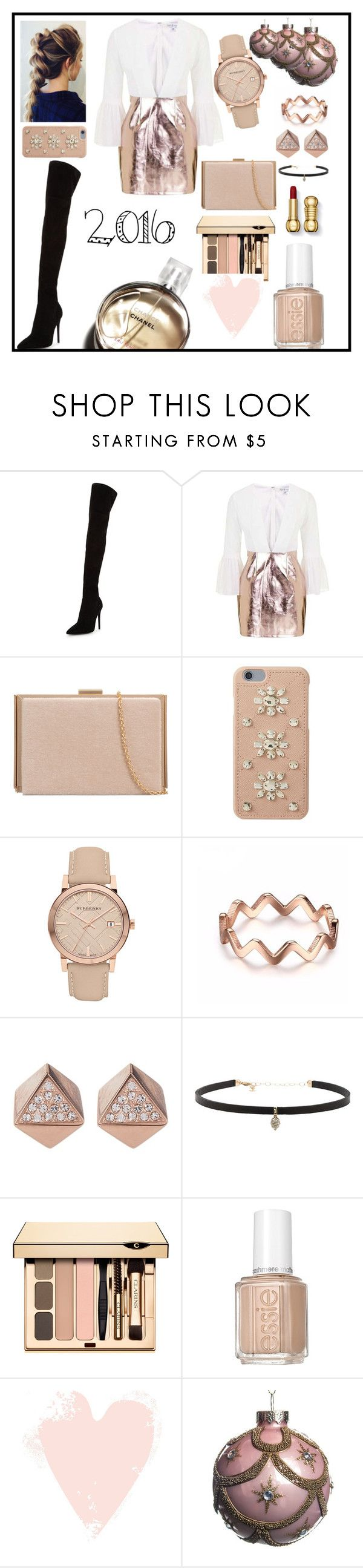 """""""Metallic trend and over-the-knee-boots trend #2016besttrend"""" by cecemontgommery ❤ liked on Polyvore featuring Kendall + Kylie, Topshop, MICHAEL Michael Kors, Burberry, FOSSIL, Carbon & Hyde, Essie and Chanel"""