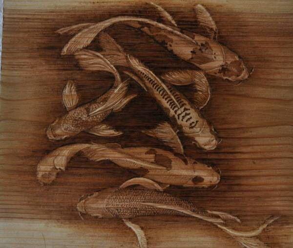 Pyrography koi artist colette begg wood burning for Wood koi pond design