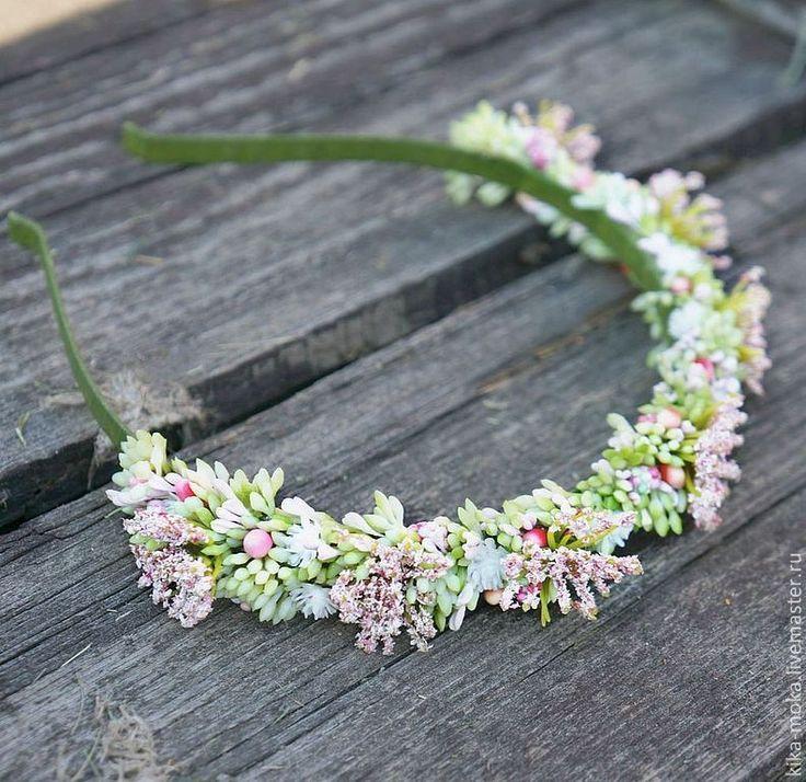 """Купить Ободок """"Сад"""" - салатовый, розовый, сад, лето, укроп, цветы лука, Праздник, свадьба"""