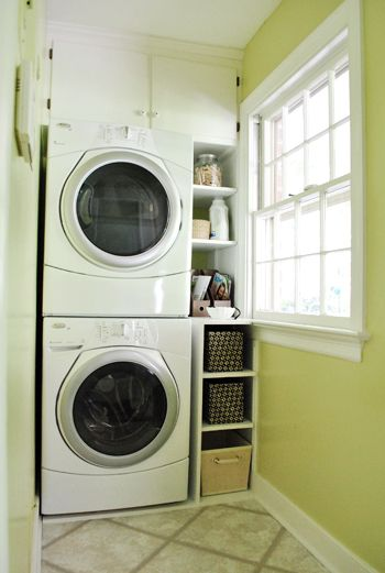Making the most of a small space: Semi-built-in laundry room (skinny) shelving http://www.younghouselove.com/2011/07/the-skinny/