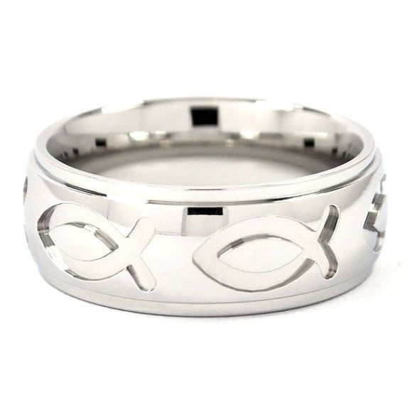 Mens rings men 39 s wedding bands with fish for Mens fishing wedding bands