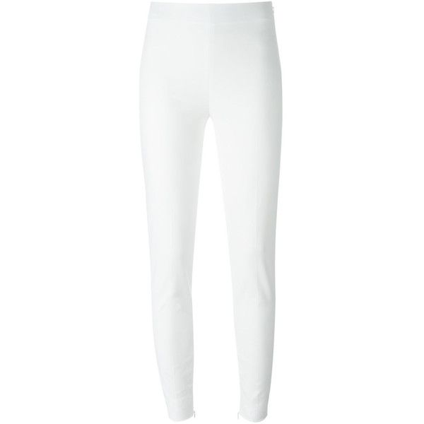 Moschino - stretch *fabric* white  side zip narrow leg pant ($679) ❤ liked on Polyvore featuring pants, capris, side zip ankle pants, side zipper pants, skinny trousers, skinny pants and ankle zip pants