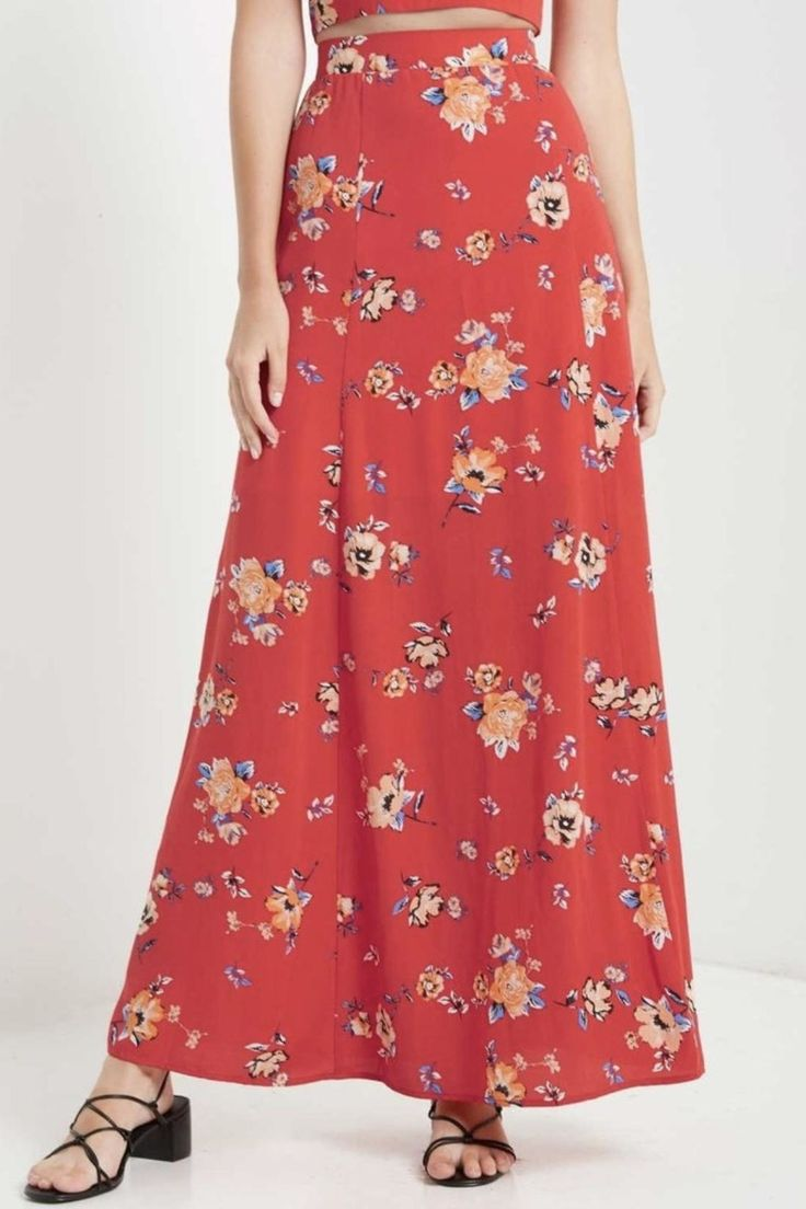 Beautiful, lined, high waisted, maxi skirt with slit down sides. Red with floral print. Dress up or down!   High-Waisted Maxi Skirt by Soprano. Clothing - Skirts Florida