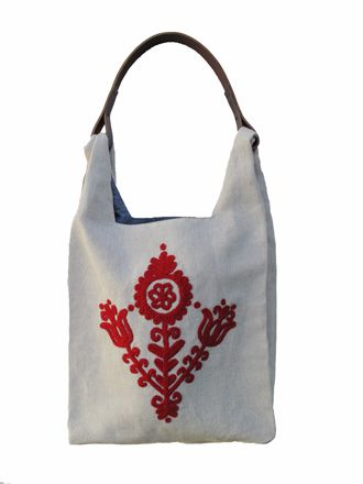 "Kalota Tote with Hungarian ""irasos"" embroidery, $170. Supports retired women and their families, Hungarian culture in Romania, and entrepreneurship. www.threadwrittentextiles.com"