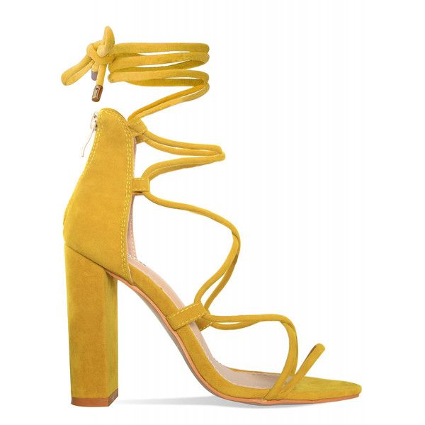 Hannah Mustard Suede Lace Up Block Heels : Simmi Shoes ($24) ❤ liked on Polyvore featuring shoes, pumps, mustard shoes, laced shoes, lace up shoes, mustard pumps and suede leather shoes
