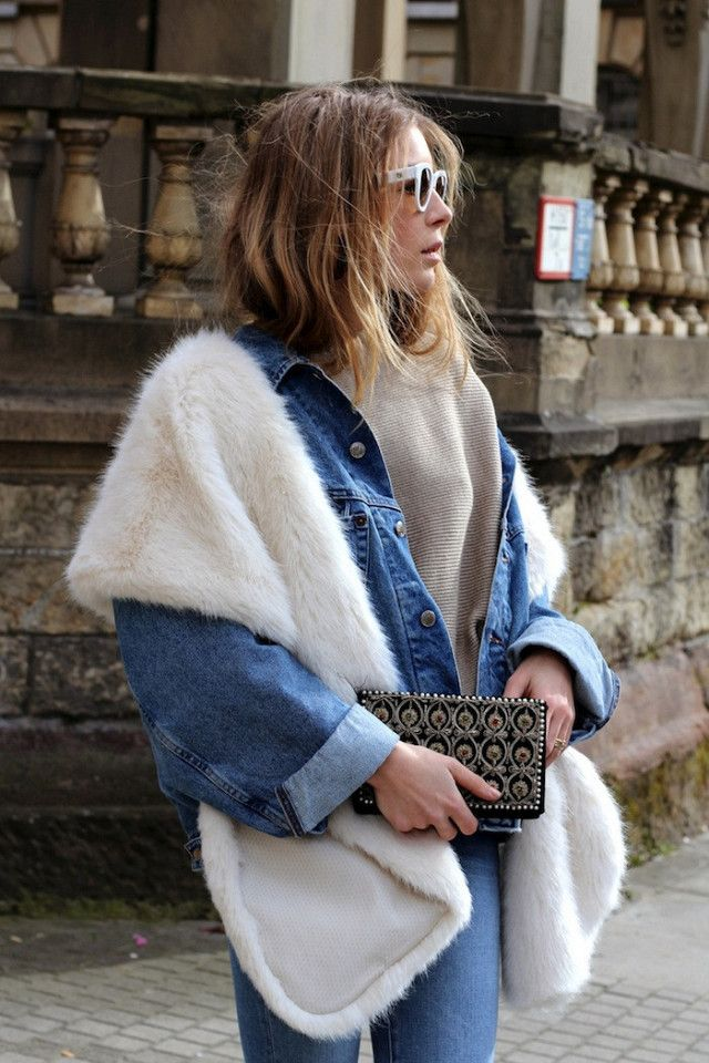 When it comes to faux-fur stoles, dressier outfits are what immediately come to mind, but Sophi of the blog Capricorne proves that the textured accessory can look right at home with a casual look as well. The stylish blogger layered a faux-fur stole over a cool denim-on-denim outfit that we can't wait to re-create this season, and the best part is we already have most of these pieces in our closet.