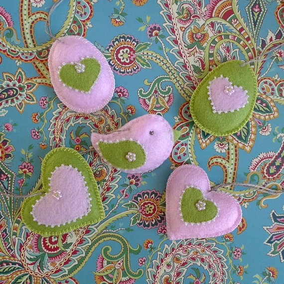 Pink and Green Heart, Bird and Egg Easter Felt Ornaments