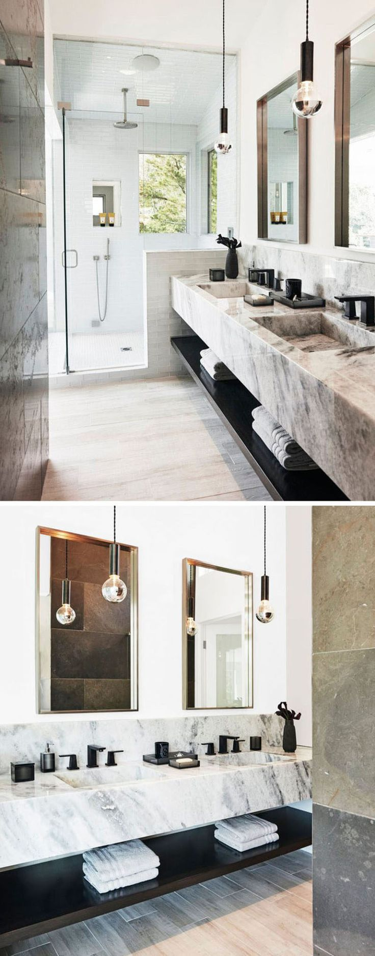 Bathroom Design Ideas - Open Shelf Below The Countertop // The dark shelf under this stone counter contrast the light materials in the bathroom and tie in the black hardware and accessories.