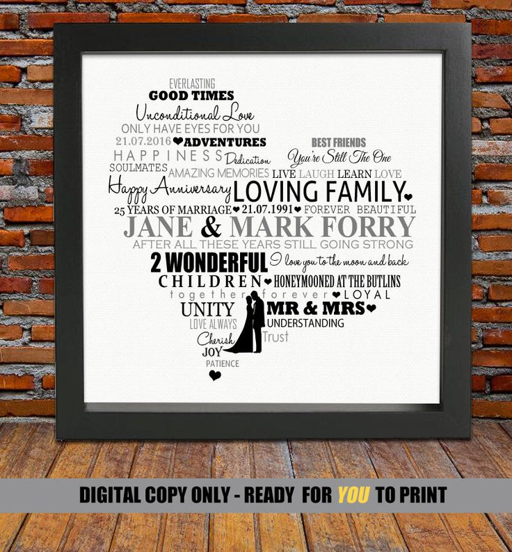 beautiful lines for5th wedding anniversary%0A Personalized Silver Anniversary gift     years anniversary gift    th wedding  anniversary gift    th