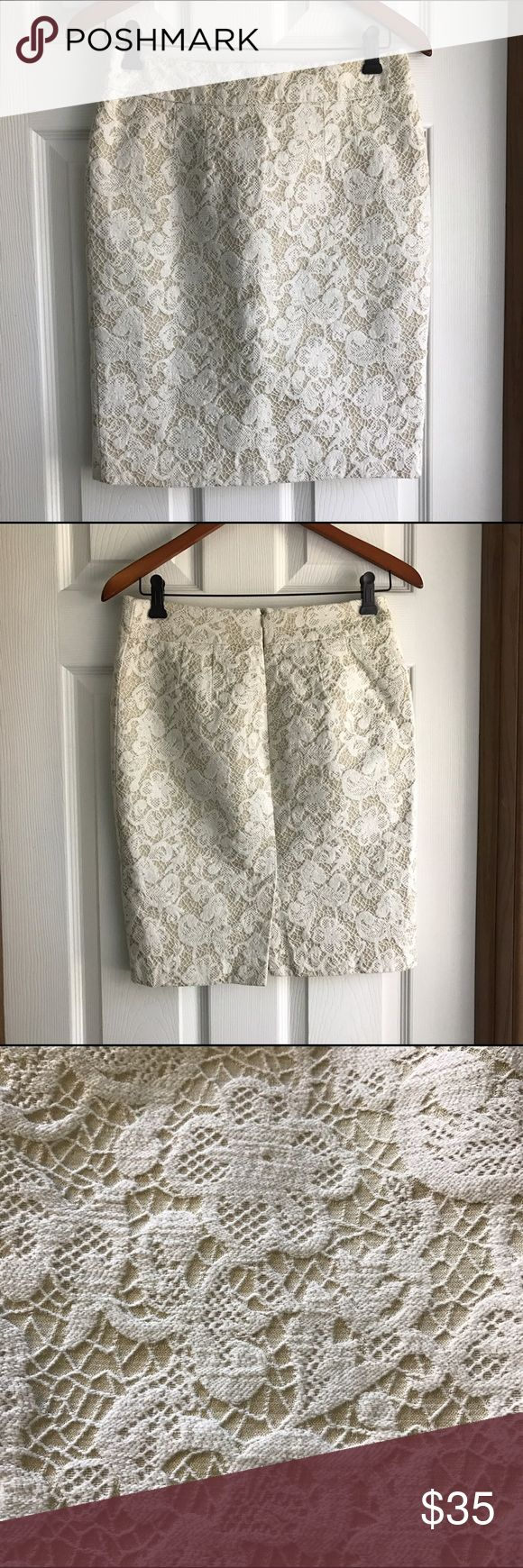 CYNTHIA ROWLEY Natural Ivory Lace Tan Pencil Skirt CYNTHIA ROWLEY Natural Ivory Lace Tan Pencil Skirt. Size 4. EUC. Back slit. Back zip. Cotton polyester and fully lined. Questions? Just ask! Measurements in last photo. Offers welcome! Cynthia Rowley Skirts Pencil
