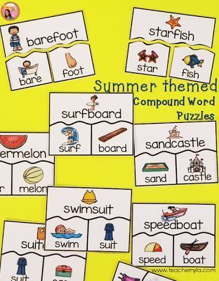 Compound Word Activity with a Summer theme $