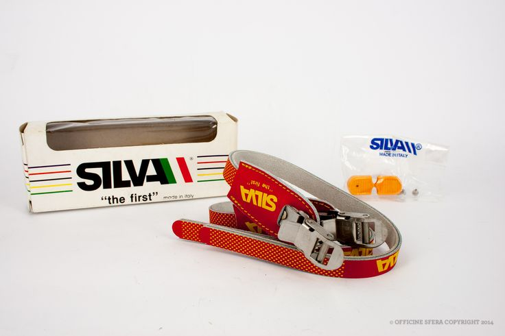 Silva toeclip straps NOS/NIB Flat red with yellow branding and polka-dot texture, seams and plastic tip