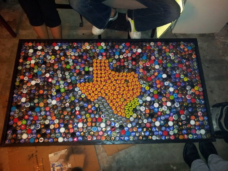 Shiner bottle cap table. I have been planning something like this and it has already been done.