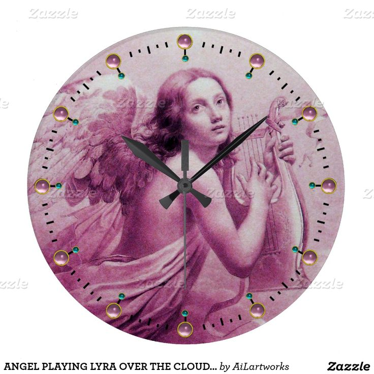 ANGEL PLAYING LYRA OVER THE CLOUDS Pink Clocks