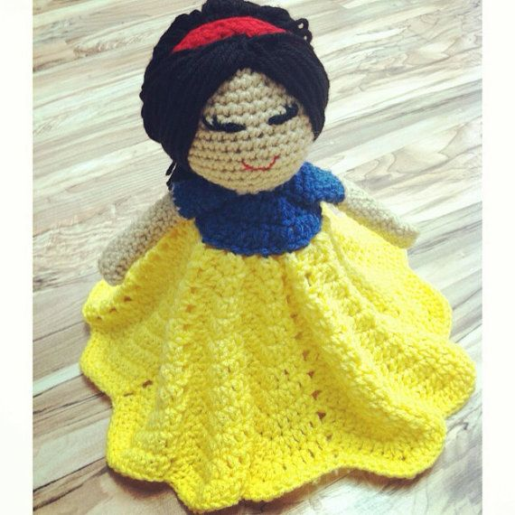 Crochet Pattern For Doll Blanket : Crochet security blanket lovey- princess doll on Etsy, USD26 ...