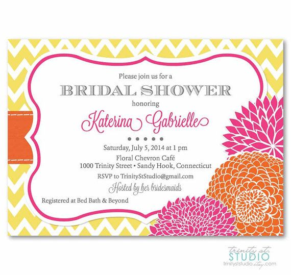 34 best gis bridal shower images on pinterest bridal parties floral zig zag chevron bridal baby shower invite or birthday party invitation examples shown with yellow and white in vintage green with orchid stopboris Images