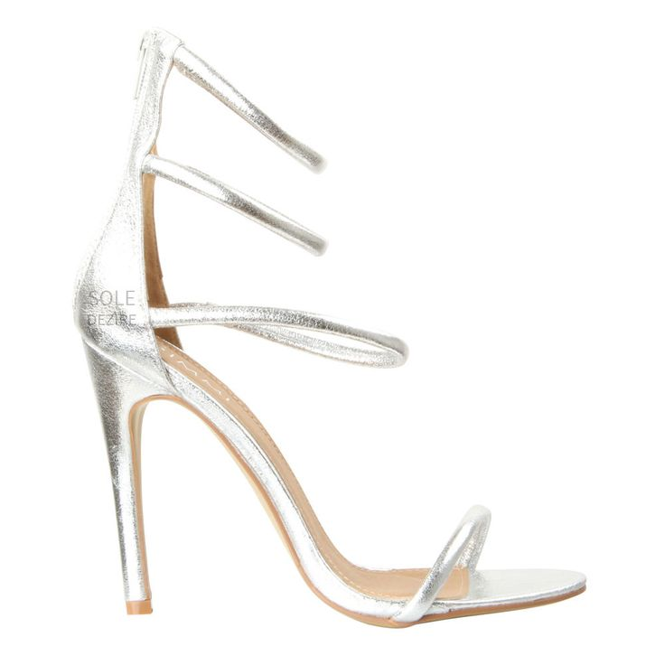 Silver Beaded Strappy Carved Heels Heel